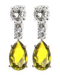 CZ by Kenneth Jay Lane - Yellow Prong Set Multicolored Round & Pear Cut Cz Drop Earrings - Lyst