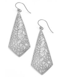 Argento Vivo - Metallic Sterling Silver Triangular Drop Earrings - Lyst