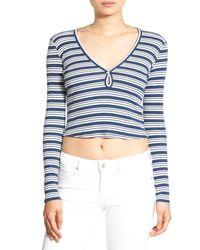Chloe & Katie | Blue Stripe Long Sleeve Crop Tee | Lyst