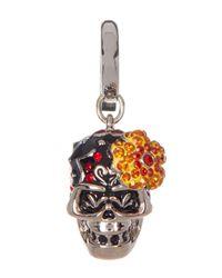 Swarovski | Multicolor Pave Crystal Flower Skull Charm | Lyst