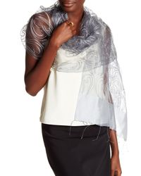 Saachi - Gray Silver Embroidered Paisley Silk Wrap - Lyst