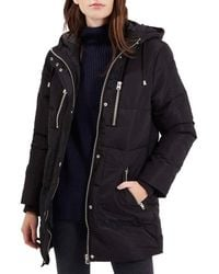 TOPSHOP | Black 'percy' Quilted Longline Parka | Lyst