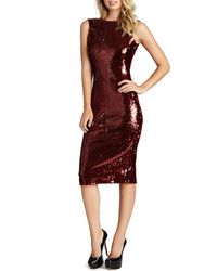 Dress the Population | Red 'audrey' Sequin Body-con Dress | Lyst