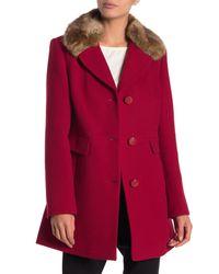 Kate Spade - Wool Blend Detachable Faux Fur Collared Jacket - Lyst