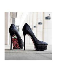Taylor Says - Black Rozay Platform Stiletto - Lyst