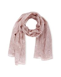 Saachi | Pink Dusty Rose Silver Water Drop Scarf | Lyst