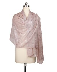 Saachi - Pink Dusty Rose Silver Water Drop Scarf - Lyst