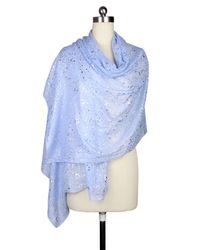 Saachi - Blue Periwinkle Silver Water Drop Scarf - Lyst