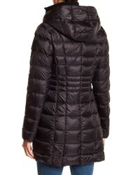 Vince Camuto - Black Packable Hooded Duck Down Zip Up Quilted Jacket - Lyst
