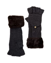 Ivanka Trump - Black Faux Fur Cable Knit Gloves - Lyst