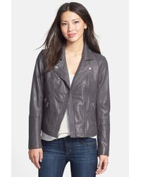 MICHAEL Michael Kors - Gray Leather Moto Jacket - Lyst