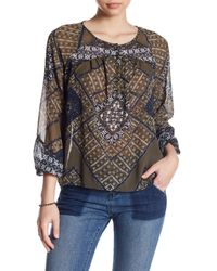 Lucky Brand - Multicolor Printed Long Sleeve Blouse - Lyst
