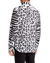 Moschino - White Long Contrast Sleeve Pattern Shirt for Men - Lyst