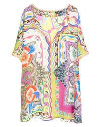 Etro - Multicolor 'floral Quad' Fringed Silk Tunic - Lyst