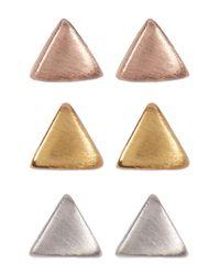 Gorjana | Metallic Triangle 3 Stud Earrings | Lyst