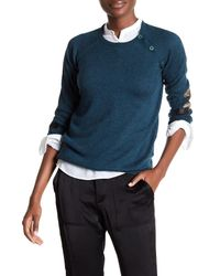 Zadig & Voltaire | Blue Reglis Lamb Leather Patch Wool Blend Sweater | Lyst