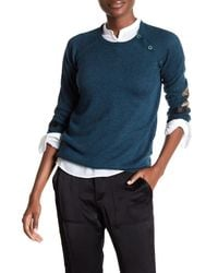 Zadig & Voltaire - Blue Reglis Lamb Leather Patch Wool Blend Sweater - Lyst