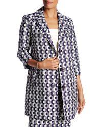Trina Turk | Blue Notch Lapel Front Button Printed Coat | Lyst