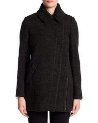 Andrew Marc - Black Zoe Asymmetrical Zip Wool Coat - Lyst