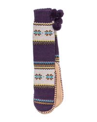 Muk Luks - Multicolor Slipper Socks With Pompoms - Lyst