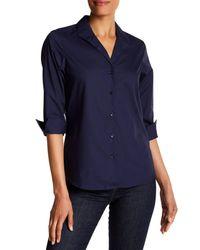 Foxcroft | Blue 3/4 Length Sleeve Shaped Fit Shirt | Lyst