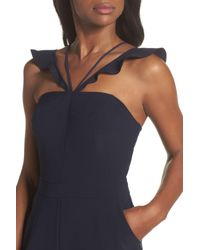 Adelyn Rae - Blue Flutter Neck Jumpsuit - Lyst