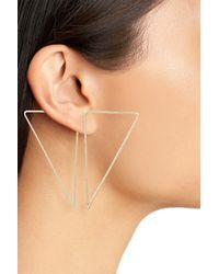 BP. - Metallic Triangle Hoop Ear Jackets - Lyst