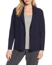 Eileen Fisher - Blue Notch Collar Boxy Jacket - Lyst