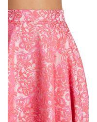 ABS By Allen Schwartz - Pink Pleated Midi Skirt - Lyst