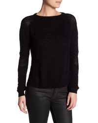 MILLY | Black Lightweight Textured Pullover | Lyst