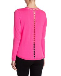 MILLY - Pink Bar Inset Wool Pullover - Lyst