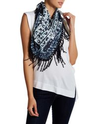 Roffe Accessories - Blue Fringed Triangle Scarf - Lyst