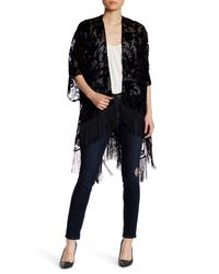 Roffe Accessories | Black Open Front 3/4 Dolman Sleeve Embroidered Velvet Fringe Shawl | Lyst