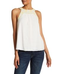 Joie - White Halter Sleeveless Embroidered Tank - Lyst