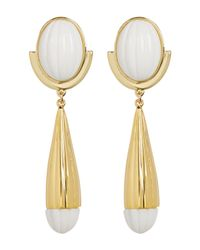 Trina Turk - Multicolor Beveled Cabochon Resin Detail Drop Earrings - Lyst