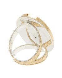 Anna Beck - Metallic 18k Gold Plated Oval Malachite Split Band Ring - Lyst