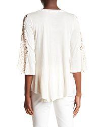 Bobeau - White 3/4 Crochet Sleeve Blouse - Lyst