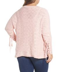 Caslon - Pink (r) Mix Stitch Tie Sleeve Sweater (plus Size) - Lyst