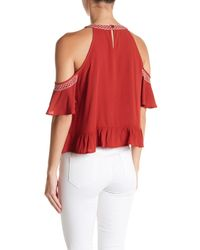 Love, Fire - Cold Shoulder Embroidered Blouse - Lyst