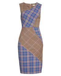 Tracy Reese - Blue Patchwork Plaid Sheath Dress - Lyst