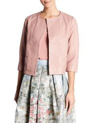 9dfdbfec4 Lyst - Ted Baker Leather Jacket in Pink