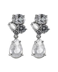 CZ by Kenneth Jay Lane - Metallic Semi Precious Stone Cluster Teardrop Stud Earrings - Lyst