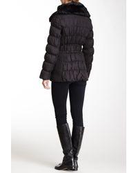 Via Spiga - Black Quilted Genuine Dyed Rabbit Fur Collar Puffer Coat - Lyst