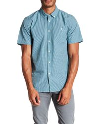Obey | Blue Brice Short Sleeve Gingham Print Regular Fit Shirt for Men | Lyst