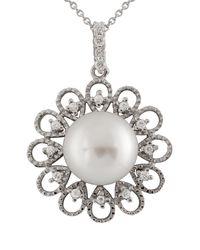 Splendid - 13-14mm White Freshwater Button Pearl & Cz Flower Pendant Necklace - Lyst