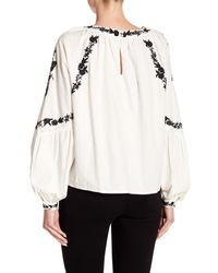Haute Rogue - White Embroidered Bishop Sleeve Top - Lyst