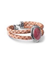 Relios - Pink Sterling Silver Rhodonite Double Row Braided Bracelet - Lyst
