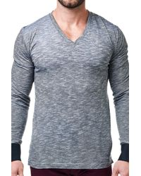 Maceoo | Black Heathered V-neck Long Sleeve Shirt for Men | Lyst