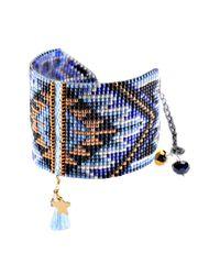 Mishky - Blue Macui Beaded Tassel Cuff Bracelet - Lyst
