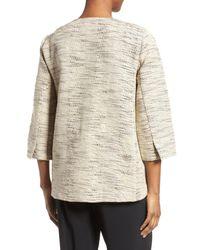 Eileen Fisher - Natural Cotton Blend Round Neck Jacket - Lyst